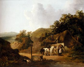 George Morland : Taking Refreshments Outside A Village Inn