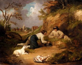 George Morland : Two Men Hunting Rabbits With Their Dog A Village Beyond
