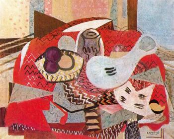 Georges Braque : Still life with red tablecloth