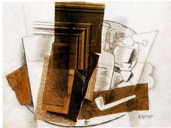 Georges Braque : Bottle, Newspaper, Pipe, and Glass
