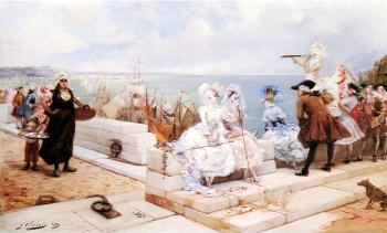 Georges Jules Victor Clairin : Elegant Figures Watching The Regatta