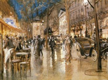 Georges Stein : Evening On A Parisian Boulevard