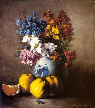 Germain Theodure Clement Ribot : A Still Life With A Vase Of Flowers And Fruit