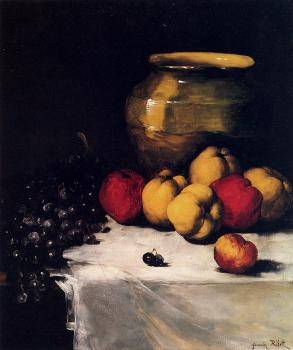 Germain Theodure Clement Ribot : A Still Life With Apples And Grapes