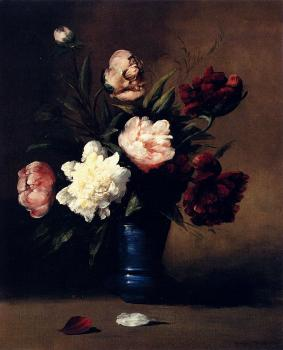 Germain Theodure Clement Ribot : Peonies In A Blue Vase