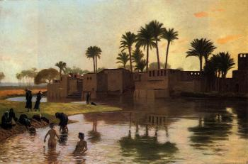 Jean-Leon Gerome : Bathers by the Edge of a River