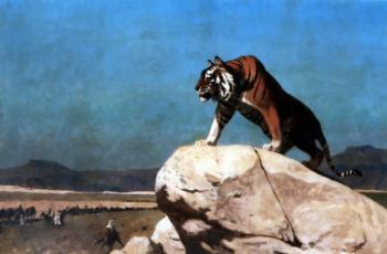 Jean-Leon Gerome : Tiger on the Watch