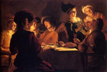 Gerrit Van Honthorst : Supper With The Minstrel And His Lute