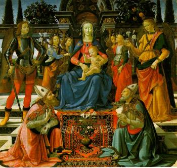 Domenico Ghirlandaio Madonna and Child enthroned with Saint