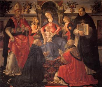 Domenico Ghirlandaio : Madonna and Child Enthroned between Angels and Saints