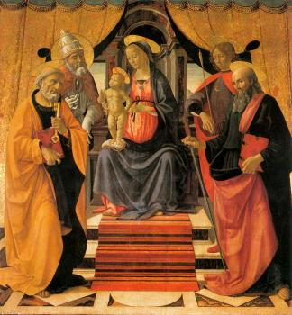 Domenico Ghirlandaio : Madonna and Child Enthroned with Saints