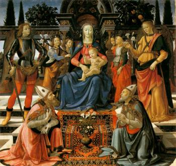 Domenico Ghirlandaio : Madonna and Child Enthroned with Saints II