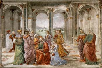 Domenico Ghirlandaio : Zacharias Writes Down the Name of his Son