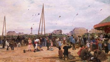 Victor Gabriel Gilbert : The Fairgrounds at Porte de Clignancourt, Paris