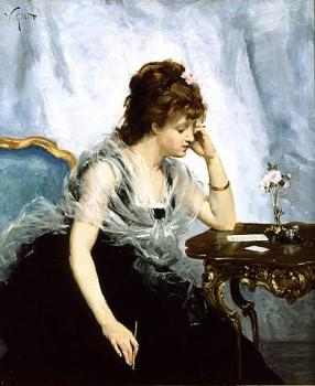 Victor Gabriel Gilbert : A Young Lady Writing a Letter
