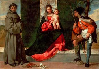 Giorgione : Madonna with the Child, St Anthony of Padua and St Roch