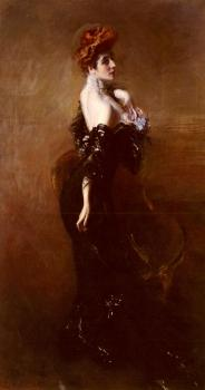 Giovanni Boldini : Portrait Of Madame Pages In Evening Dress