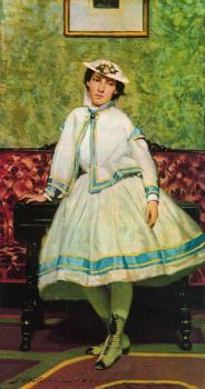 Giovanni Boldini : Portrait of Alaide Banti in White Dress
