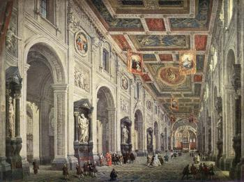 Giovanni Paolo Pannini : Interior Of The Santa Giovanni In Laterno In Rome