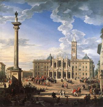 Giovanni Paolo Pannini : The Piazza And Church Of Santa Maria Maggiore