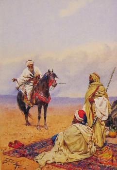 Giulio Rosati : A Horseman Stopping At a Bedouin Camp