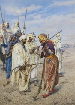 Giulio Rosati : Bedouins preparing a raiding party