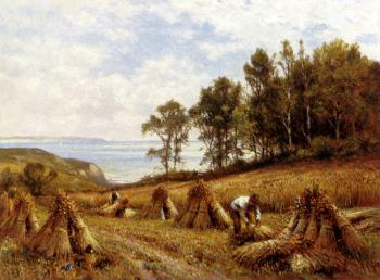 Alfred Glendening : In The Cornfields Near Luccombe Isle Of Wight