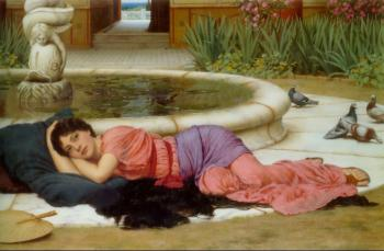 John William Godward : A Cool Retreat