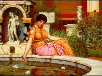 John William Godward : A Lily Pond