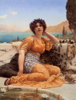 John William Godward : With Violets Wreathed and Robe of Saffron Hue