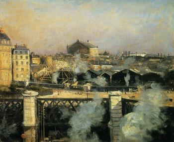 Norbert Goeneutte : The Pont de l'Europe and the Gare Saint-Lazare with Scaffold