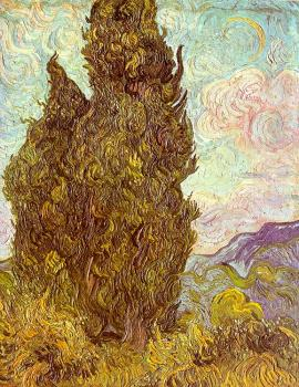 Vincent Van Gogh : Two Cypresses
