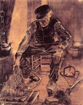 Vincent Van Gogh : Farmer sitting at the fireplace