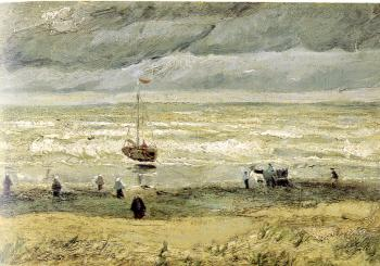 Vincent Van Gogh : Beach with Figures and sea with a ship