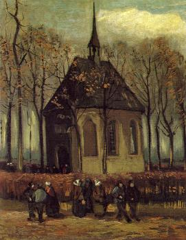 Vincent Van Gogh : Congregation Leaving the Reformed Church in Nuene