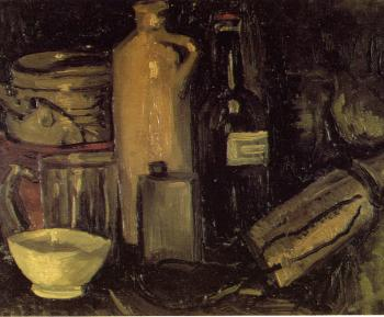 Vincent Van Gogh : Still Life with Pots,Jar and Bottles