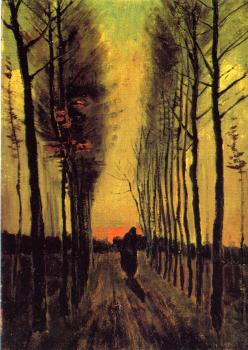 Vincent Van Gogh : Lane of Poplars at Sunset