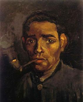 Vincent Van Gogh : Head of a Young Man,Bareheaded,with Pipe