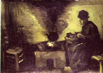 Vincent Van Gogh : Peasant woman,Sitting by the Fire