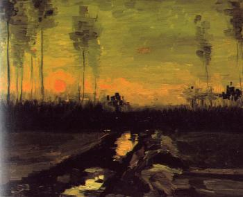 Vincent Van Gogh : Landscape with Sunset
