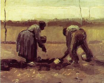 Vincent Van Gogh : Peasant Man and Woman Planting Potatoes