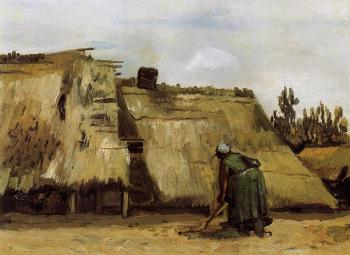 Vincent Van Gogh : Cottage with Woman Digging II