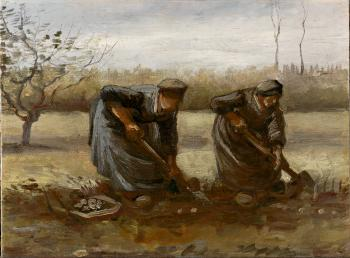 Vincent Van Gogh : Two Peasant Women Digging Potatoes