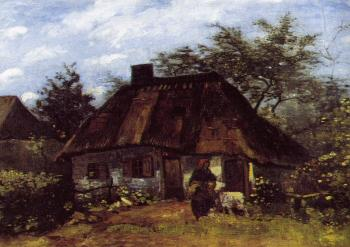 Vincent Van Gogh : Cottage and Woman with a Goat
