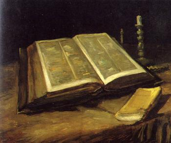 Vincent Van Gogh : Still Life with Open Bible,Candlestick and Novel