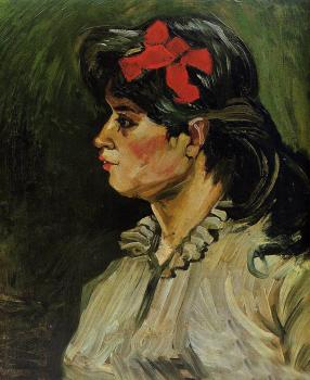 Vincent Van Gogh : Portrait of a Woman with a Scarlet Bow in Her Hair