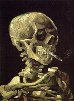 Vincent Van Gogh : Skull with Burning Cigarette between the Teeth