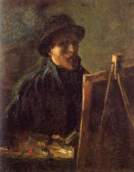 Vincent Van Gogh : Self-Portrait with Dark Felt Hat in front of the Easel