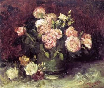 Vincent Van Gogh : Vase with Peonies and Roses
