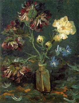 Vincent Van Gogh : Vase with Myosotis and Peonies
